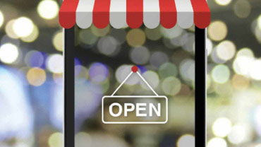 """Abstraktes Visual bestehend aus Schaufenster mit """"geöffnet""""-Schild, Markise und Lichteffekten"""