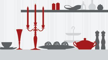 Grafik eines gedeckten Tisches mit grauen und roten Dining-Objekten
