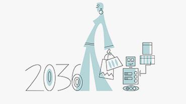 Illustration einer Frau, die beim Shopping von ihrem Roboter-Diener begleitet wird.