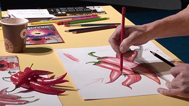 Martina Lammel demonstriert plastisches Zeichnen nach einer Vorlage aus Chilischoten.