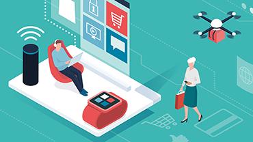 Eine Illustration, die vom Smart Home bis zur Lieferdrohne verschiedene Aspekte des Online-Shoppings darstellt