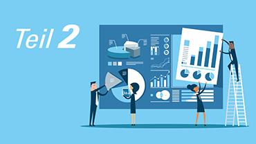 Himmelblaue Illustration, die Arbeitskollegen beim Zusammensetzen einer Statistik zeigt