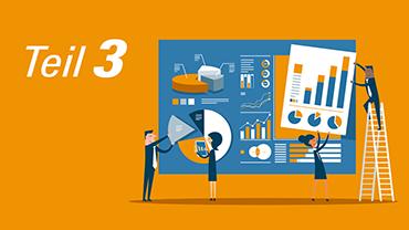 Orange-gelbe Illustration, die Arbeitskollegen beim Zusammensetzen einer Statistik zeigt