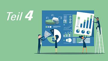 Lindgrüne Illustration, die Arbeitskollegen beim Zusammensetzen einer Statistik zeigt