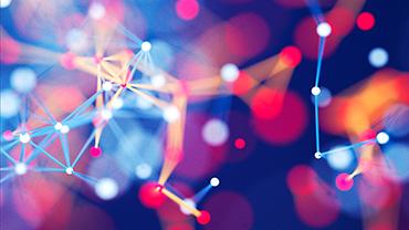 Dreidimensionale Grafik, die an ein neuronales Netz erinnert