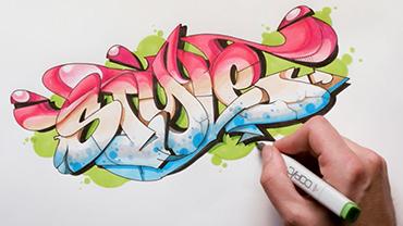 """Eine Hand koloriert den stilisierten Schriftzug """"Style""""."""