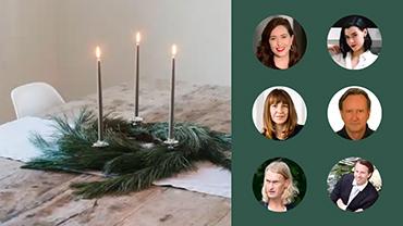 Portraits der Präsentatoren und Teilnehmer des Workshops sind neben dem Bild eines minimalistischen Weihnachtskranzes zu sehen.