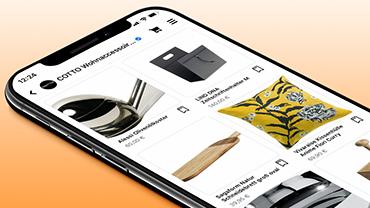 Der Facebook-Shop von COTTO Wohnaccessoires wird auf einem Smartphone angezeigt.